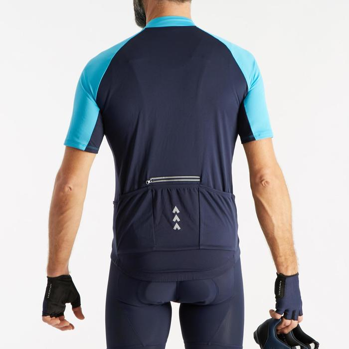 MAILLOT MANCHES COURTES TPS CHAUD VELO ROUTE HOMME CYCLOTOURISME RC 100 NAVY BLU