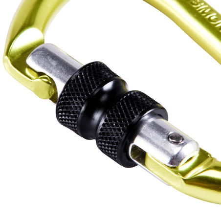 CLIMBING AND MOUNTAINEERING SCREWGATE KARABINER ROCKY YELLOW