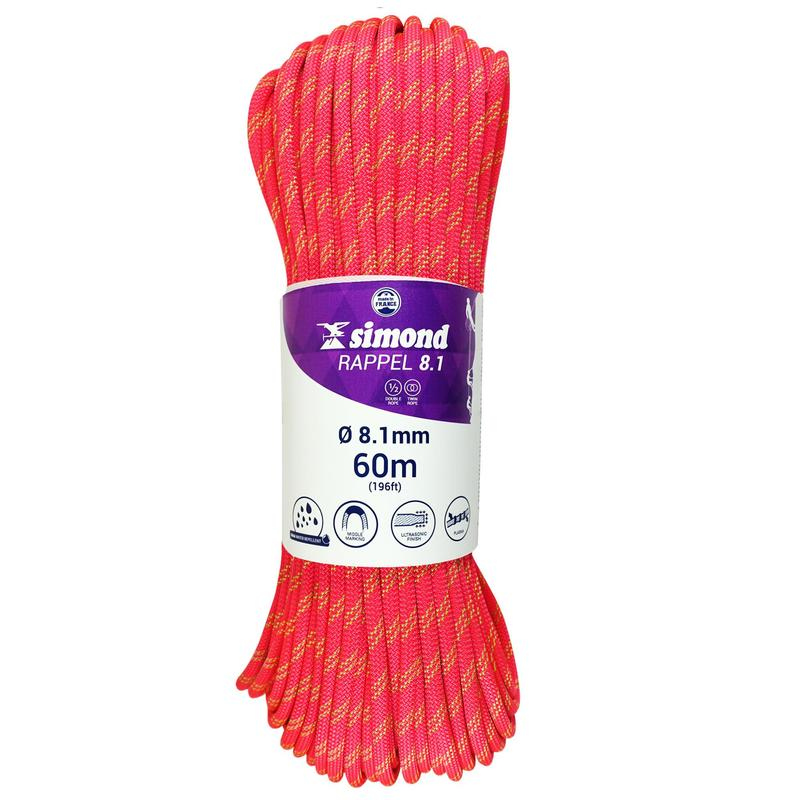 Double dry climbing and mountaineering rope 8.1 mm x 60 m - Rappel 8.1 Pink
