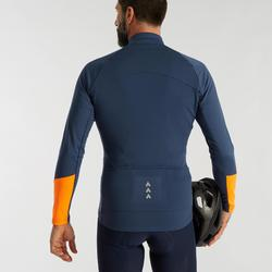 Wielershirt heren RC100 met lange mouwen donkerblauw/oranje