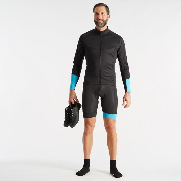 Fietsbroek voor racefietsen geen bretels heren wielertoerisme RC100 zwart/blauw