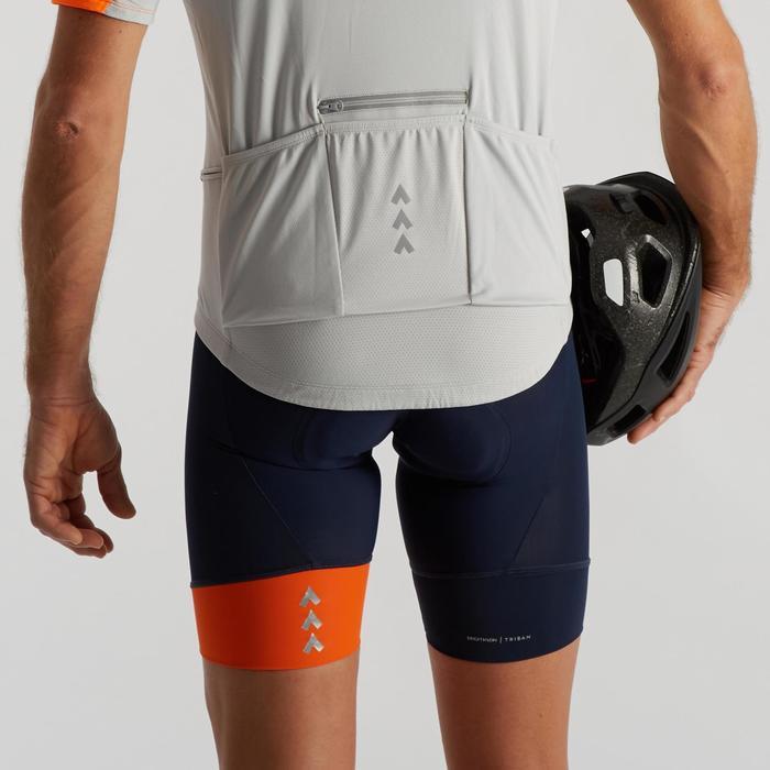Fietsbroek zonder bretellen voor heren wielertoerisme RC100 navy/oranje