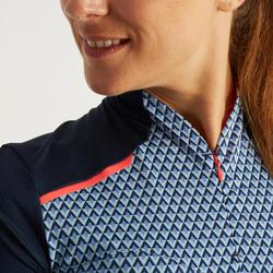 Wielershirt RC500 met korte mouwen voor dames blauw geometrisch