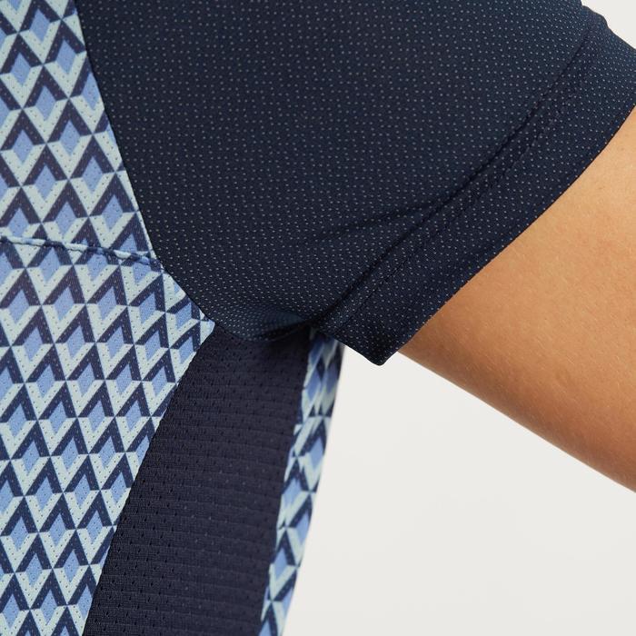 Fietsshirt 500 met korte mouwen voor dames blauw geometrisch