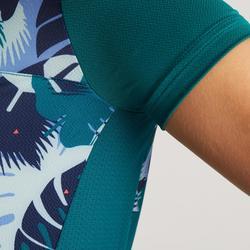 Wielershirt RC500 met korte mouwen voor dames groen palmblad