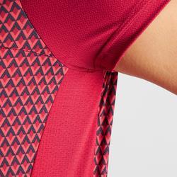 Wielershirt RC500 met korte mouwen voor dames roze geometric