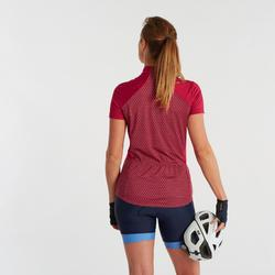 Fietsshirt met korte mouwen voor dames 500 roze geometric
