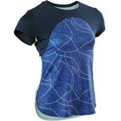 Camiseta Manga Corta Deportiva Gimnasia Domyos S900 Niña Azul /Azul Turqui