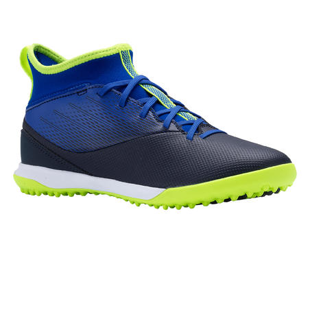 Agility 500 Kids' Hard Pitch High-Top Football Boots - Blue/Black