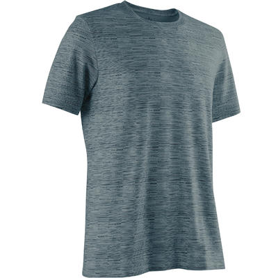 T-Shirt 500 regular Pilates Gym douce homme bleu foncé AOP