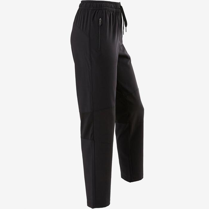 兒童透氣輕盈耐用寬版剪裁健身長褲W900 - 黑色