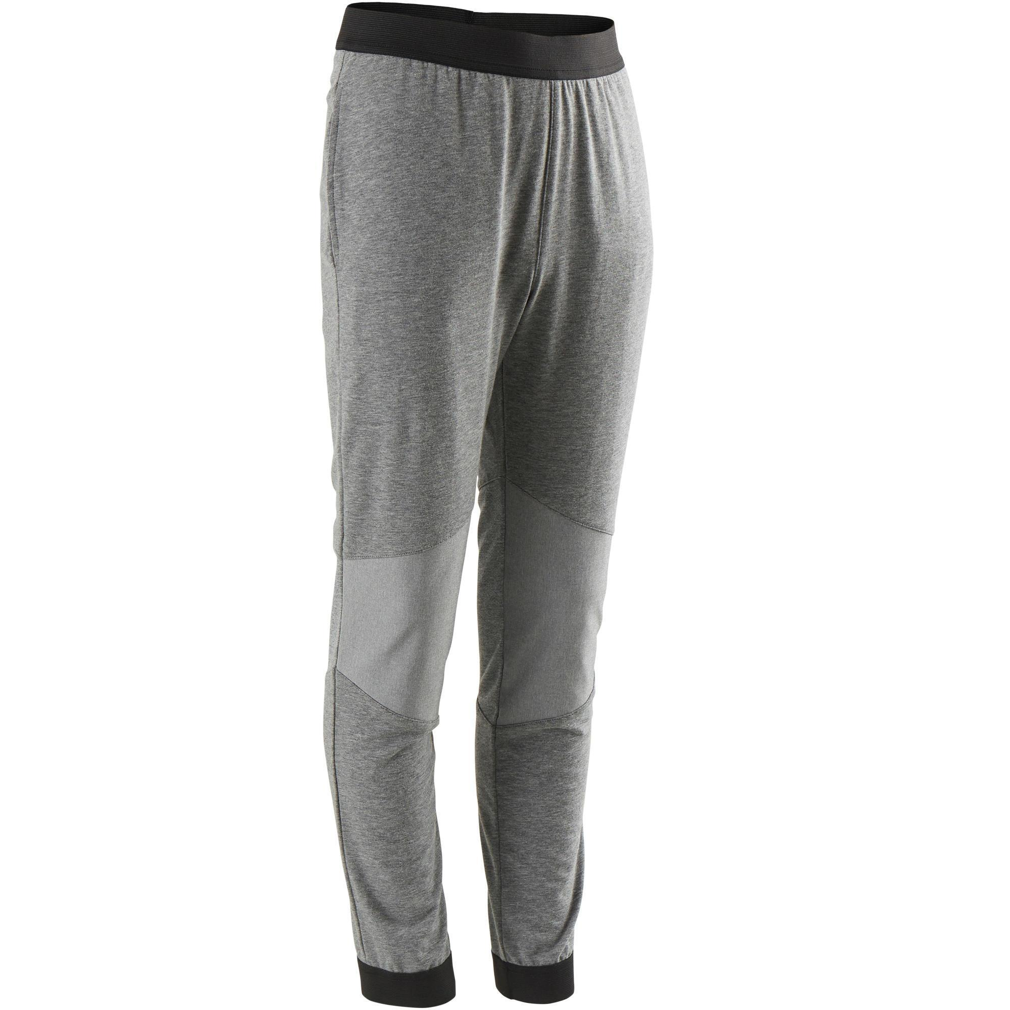 Pantalon coton respirant résistant slim léger 500 garçon gym enfant gris domyos
