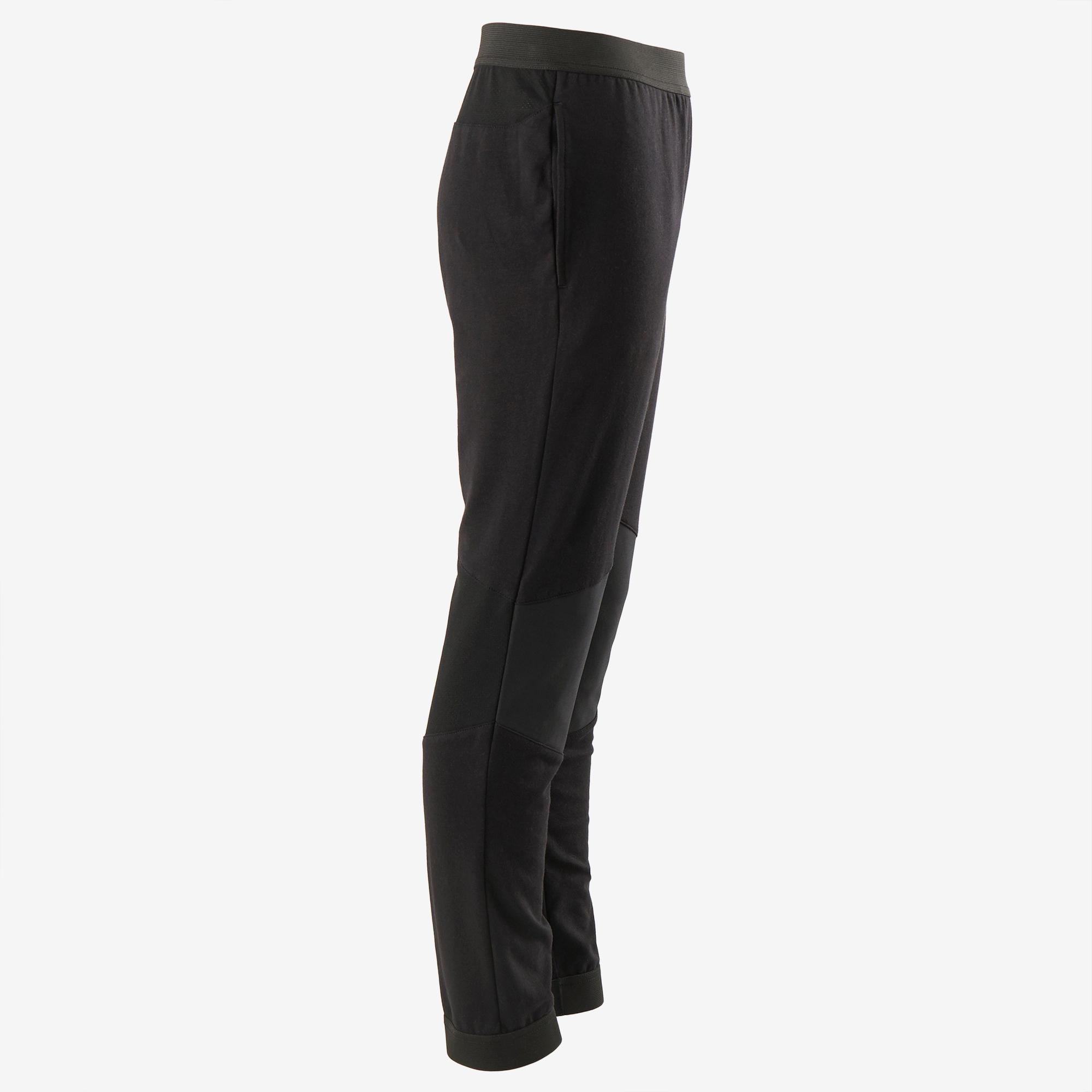 Pantalon coton respirant, résistant Slim léger 500 garçon GYM ENFANT noir