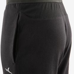Lichte en ademende sportbroek voor gym jongens 500 slim fit katoen zwart