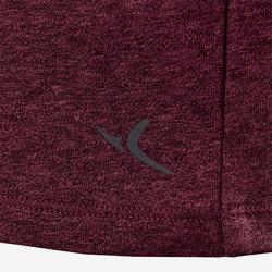 500 Regular-Fit Pilates & Gentle Gym T-Shirt - Mottled Burgundy