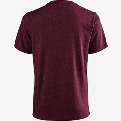 標準剪裁皮拉提斯與溫和健身T恤500 - 深酒紅色