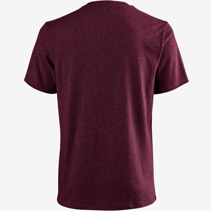 T-Shirt 500 Regular Pilates & Gym Herren bordeauxrot meliert
