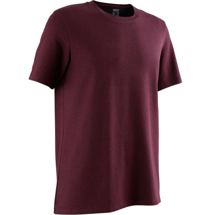T-shirt 500 regular fit pilates en lichte gym heren gemêleerd bordeaux