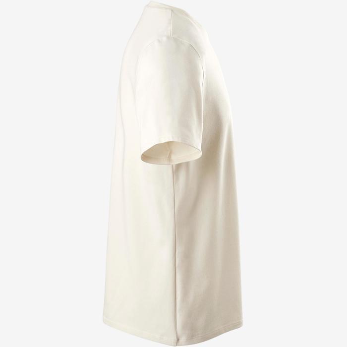 Camiseta 500 regular Pilates y Gimnasia suave hombre beige natural