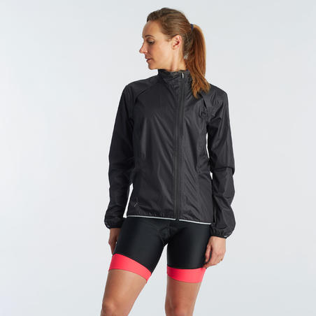 500 Rainproof Cycling Jacket Black - Women
