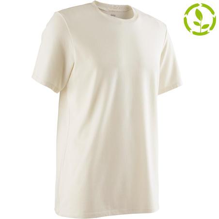 500 Regular-Fit Pilates & Gentle Gym T-Shirt - Beige