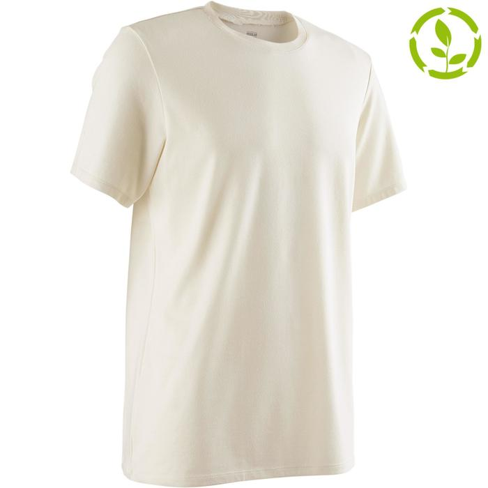 T-Shirt 500 Regular Pilates sanfte Gym Herren greige