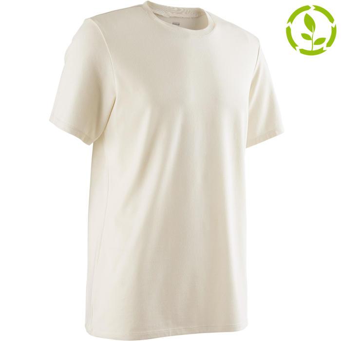 T-shirt 500 regular fit pilates en lichte gym heren greige