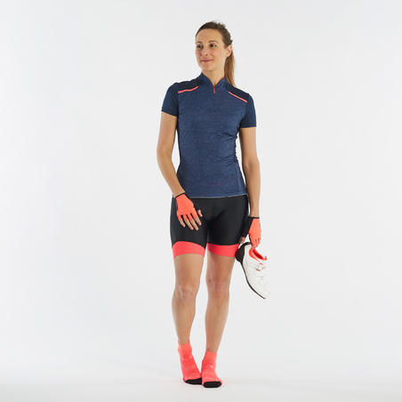 500 Women's Cycling Bibless Shorts - Black/Pink