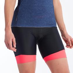 Wielrenbroek RC500 zonder bretels voor dames zwart/roze