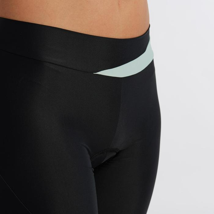 Wielrenbroek dames RC500 zonder bretels zwart/muntgroen
