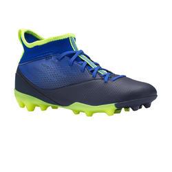 Voetbalschoenen voor kinderen Agility 500 hoog MG-zool indigoblauw en zwart