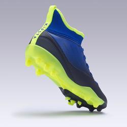 Chaussure de football enfant AGILITY 500 montante semelle MG bleu indigo et noir