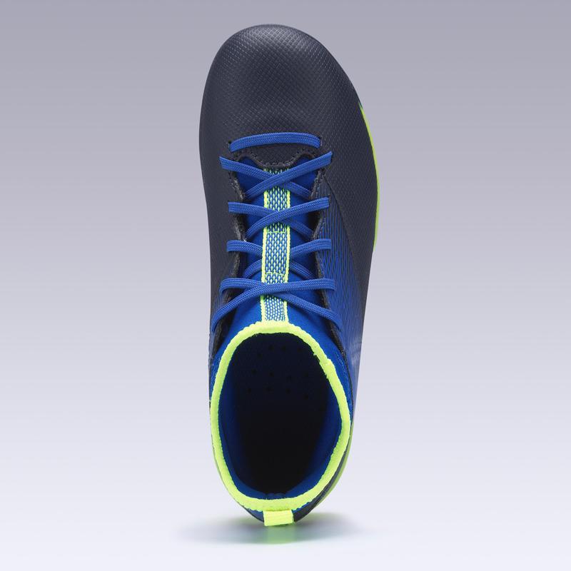 Zapatillas de fútbol júnior AGILITY 500 suela MG azul índigo y negras
