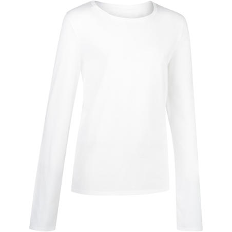 100 Boys' Gym Lengan Panjang T-Shirt - Putih