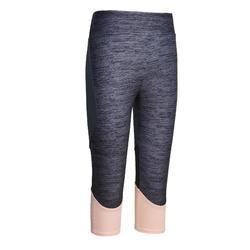 女童合成材質透氣健身七分褲S500 - 黑色