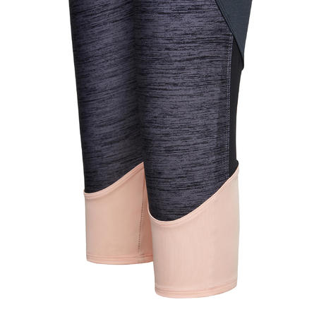 S500 Girls' Breathable Synthetic Gym Cropped Bottoms - Black