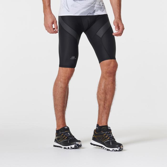 Korte compressiebroek voor traillopen heren zwart/antracietgrijs