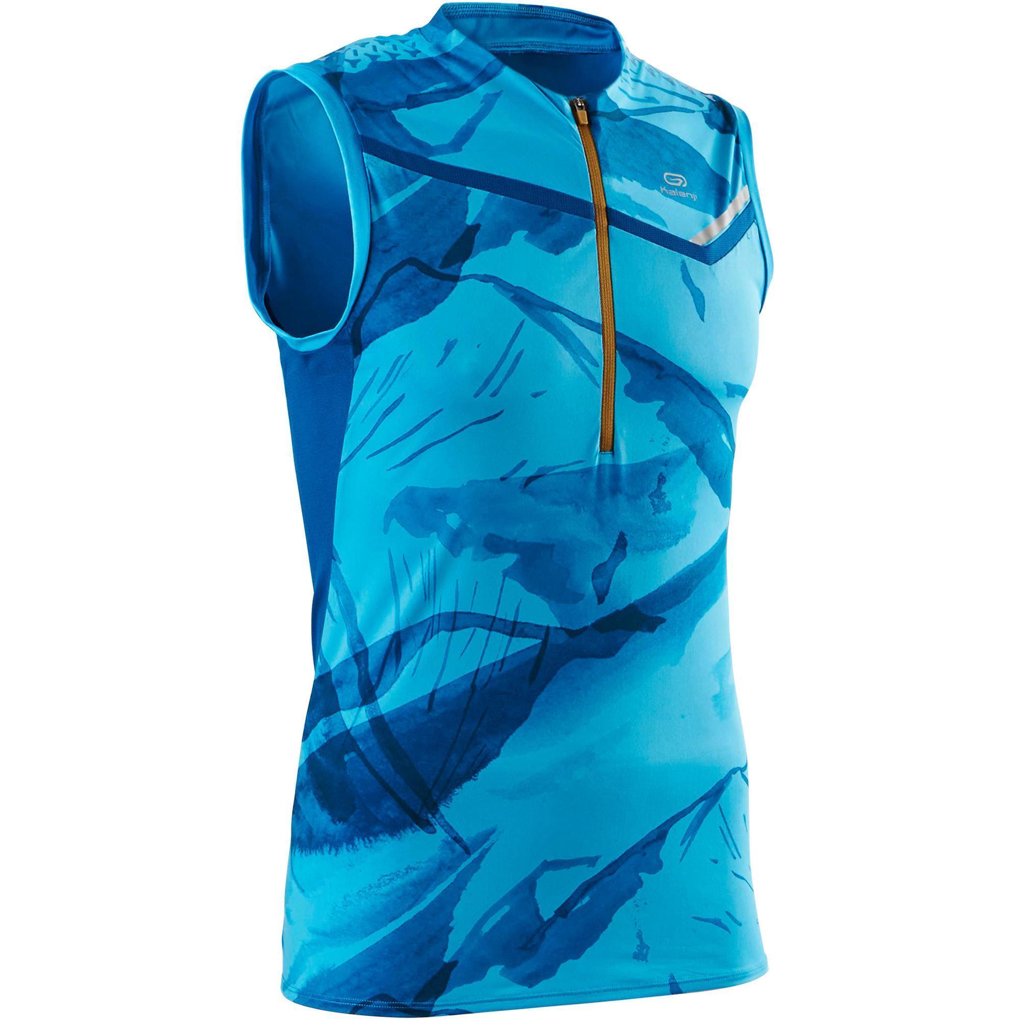 Kalenji Mouwloos herenshirt voor traillopen blauw turquoise
