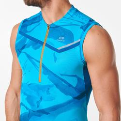 Mouwloos herenshirt voor traillopen blauw turquoise