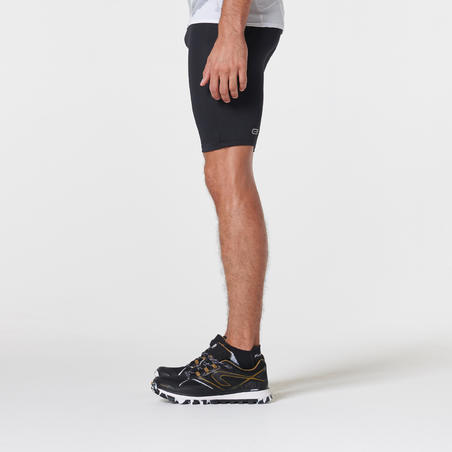 Celana pendek lari trail ketat pria- Hitam