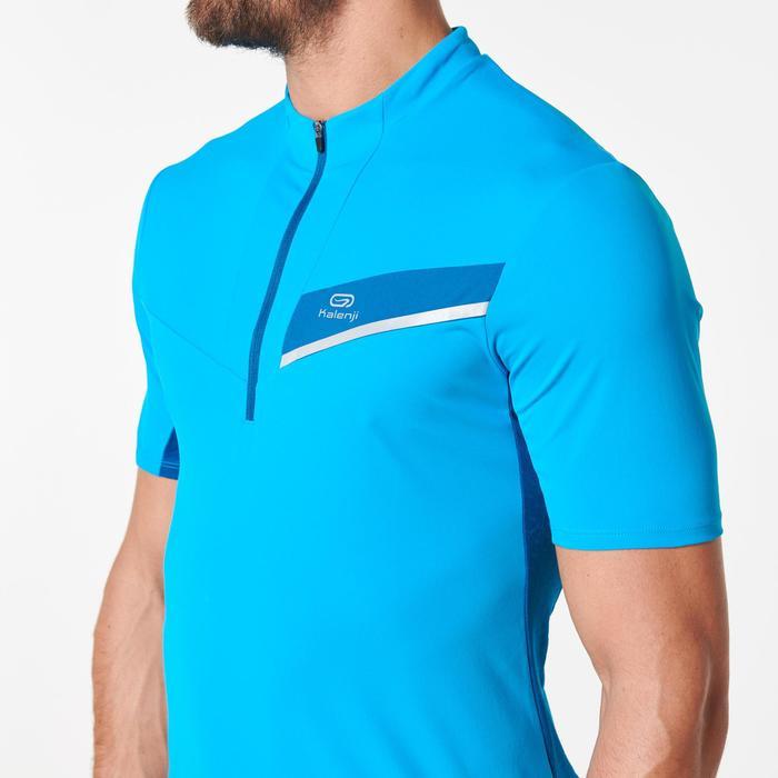 Camiseta Manga Corta Trail Running Kalenji Hombre Azul Turquesa