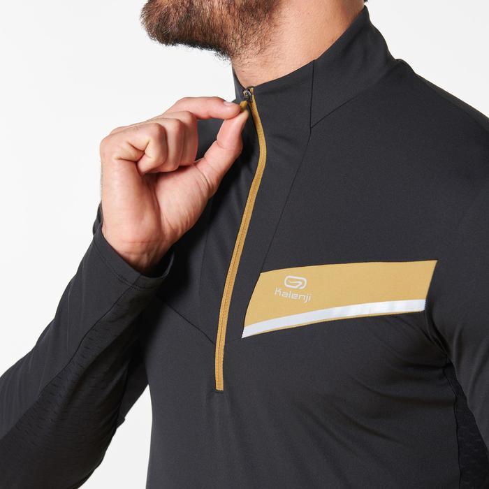 Tee shirt manches longues trail running noir bronze homme
