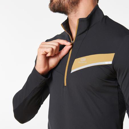 Kaus Lari Trail Lengan Panjang pria- Hitam/Cokelat Metalik