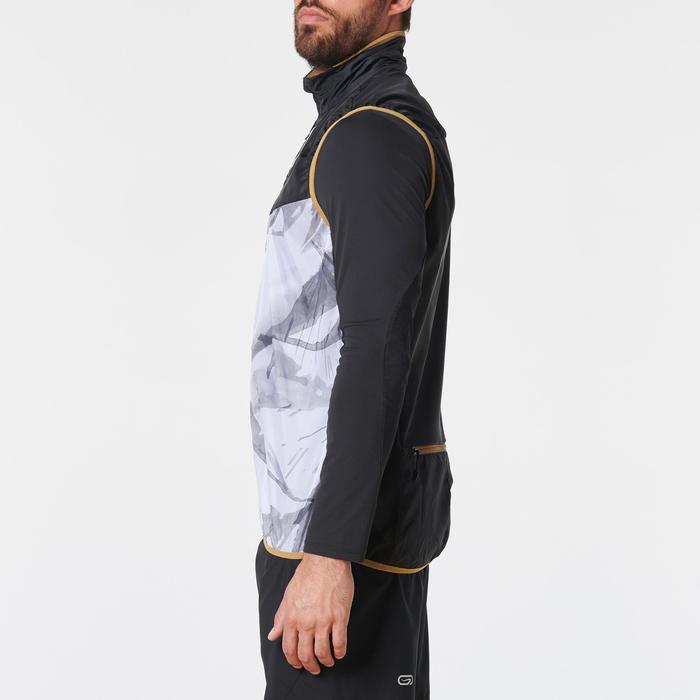 Mouwloos trailjasje voor heren wit met print