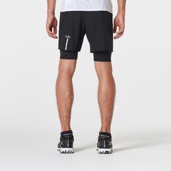 Short met korte loopbroek voor traillopen Comfort heren zwart