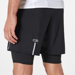 Mallas Cortas Shorts Deportivos Running Kalenji Confort Hombre Negro Con mallas