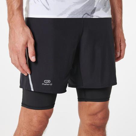 Celana Pendek Baggy Lari Trail Nyaman pria -hitam