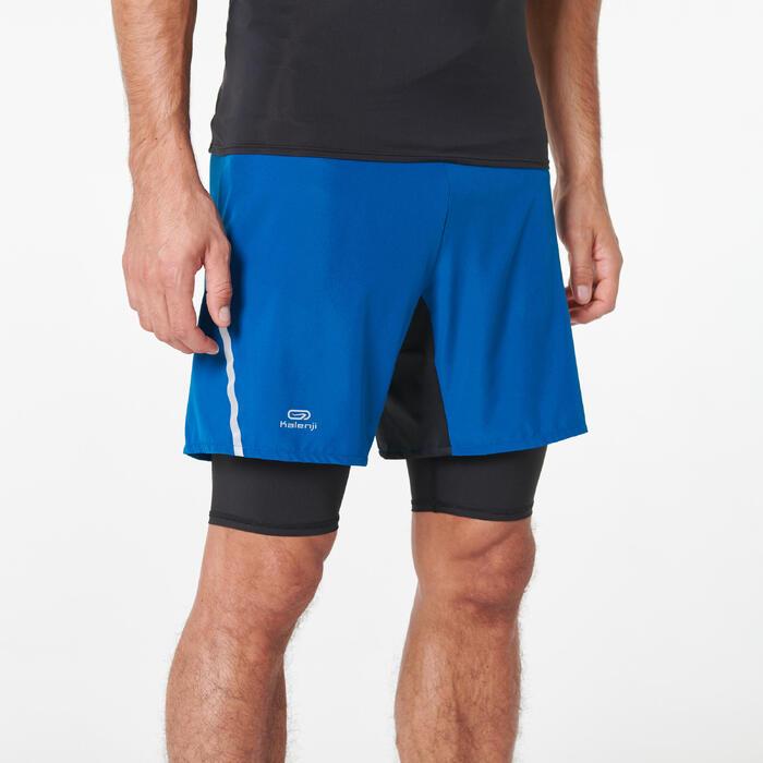 男款越野跑寬鬆短褲Comfort - 藍色