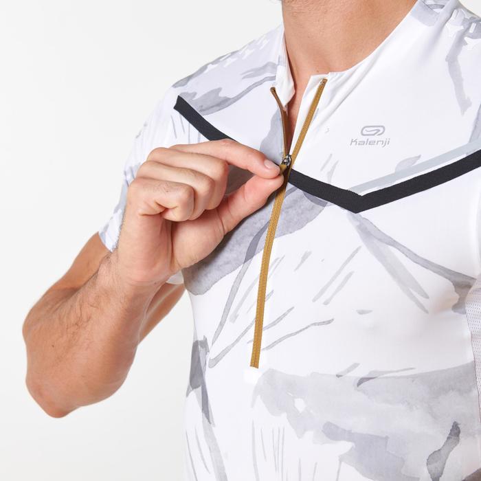 T-shirt korte mouwen traillopen wit print heren