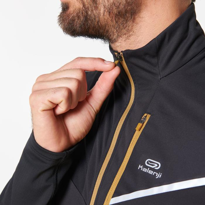 Maillot veste softshell manches longues trail running noir bronze homme